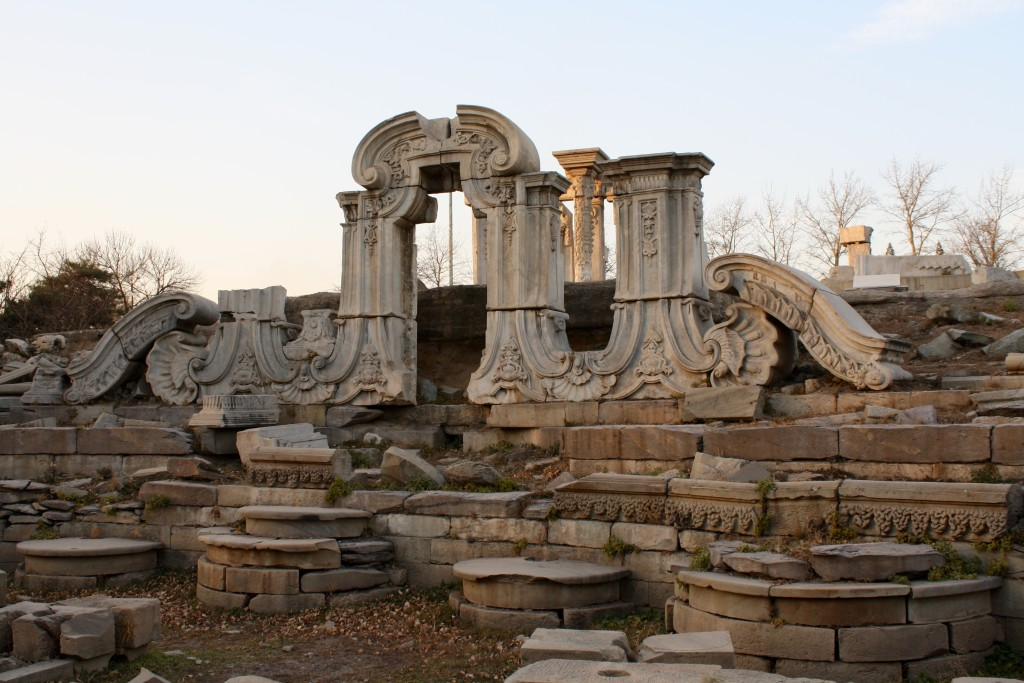 the ruins of the old summer palace in beijing